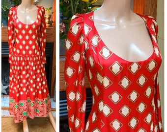Vintage 50s 60s Plunging Red Abstract Silk Geometric Red Metal Zipper Dress L