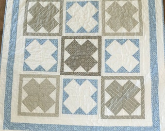 Adorable Blue and Gray Baby Quilt Bunny Hill Ooh Lala