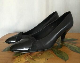 Vintage Black Heels Leather Suede Chevron Patent Toe Women's Shoes Size US 7.5