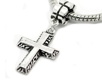 "Antique Silver Tone ""Cross "" Charm Spacer Bead Fits Pandora Troll Chamilia Biagi Bracelet"