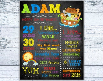 Noah's Ark Birthday - Chalkboard - Digital File - Boy's Birthday - Printable - First Birthday Chalkboard - Digital File - Any Age