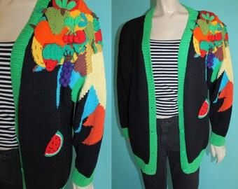 Vintage 80s Colorful Avante Garde Arty Knit Novelty FRUIT Slouchy Oversized CARDIGAN Sweater