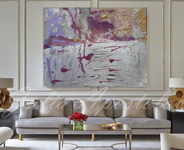 Large Silver Wall Decor: 54inch Huge Wall Art Large Abstract Print Silver Painting