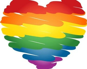 "GAY PRIDE Rainbow Heart Bumper Sticker Decal 5"" x 4"" Window Car Decal Vinyl BS-1013"