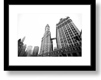 Wrigley Building, Chicago, Michigan ave., photography, black and white, Office decor