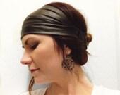 Black Pleather Headwrap, Faux Leather Headband, Faux Leather Turban, Women's Headwrap, Biker Headband, Vegan Leather