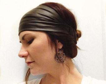 Stretchy Black Pleather Headwrap Headband OR Turban OR Knot Headband