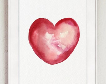 Vibrant Heart Watercolor Painting, Red Heart Shape Silhouette, Love Sign Poster Nursery Kids Room Decor, Pink Art Print Valentine's Day Gift