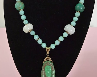 Beautiful Egyptian revival 1930's turquoise aventurine necklace long flapper