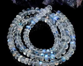"Blue Flash MOONSTONE 16.06"" Strand Smooth Rondelle Gemstone BEADS 114 ct"