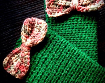 Bow Toddler leg warmers, Green leg warmers, Bow leg warmers, Crochet leg warmers