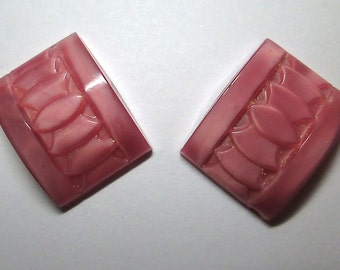 2 Vintage Pink Glass Cabochons