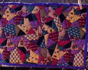Purple Crazy Quilt, Home Decor, Wall Hanging, Quilted Placemat, Ready to Ship, Crazy Quilt