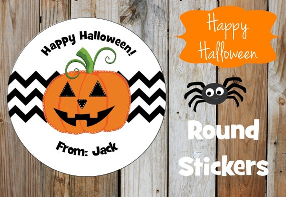 Halloween Stickers - Jack O Lantern Stickers - Set of 12 Round Labels - Pumpkin Stickers - Chevron Stickers