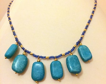 Necklace with 6 turquoise pendants