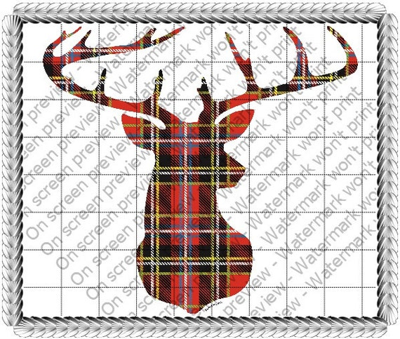 Plaid Deer- Edible Cake and Cupcake Topper For Birthday's and Parties! - D1505