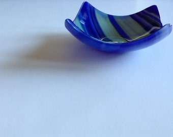 Blue and Green Fused Glass Trinket Dish
