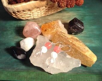 Gemstone Earrings ~ Cherry Quartz, White Tridacna, Rock Crystal Quartz, 925 Sterling Silver