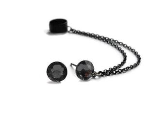 Chain cuff Earrings, Black ear cuff earrings, Crystal stud earrings
