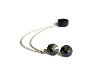 Black Ear Cuff Earrings, Cuff earrings with sterling silver chain, Black ear cuff, Stud earrings with chain