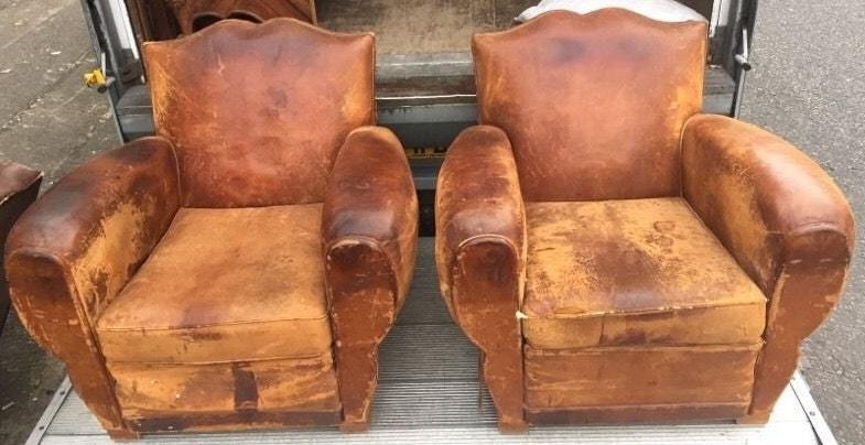 Pair Vintage Club Chairs