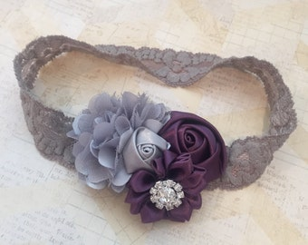 Silver grey and plum lace headband,holiday headband,girls headbands,fancy headbands,plum headband,flower girl headband,newborn headbands