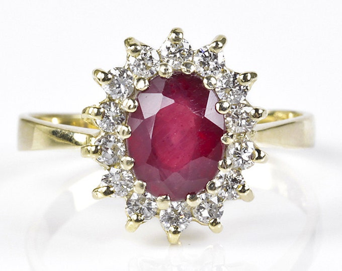 Diamond ring with Ruby-Engagement Ring -Ruby ring gold-Ruby engagement ring-Art deco ring-Ruby ring vintage-Promise Ring-Anniversary Ring