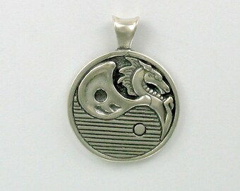 925 Sterling Silver Yin Yang Dragon Pendant - 43