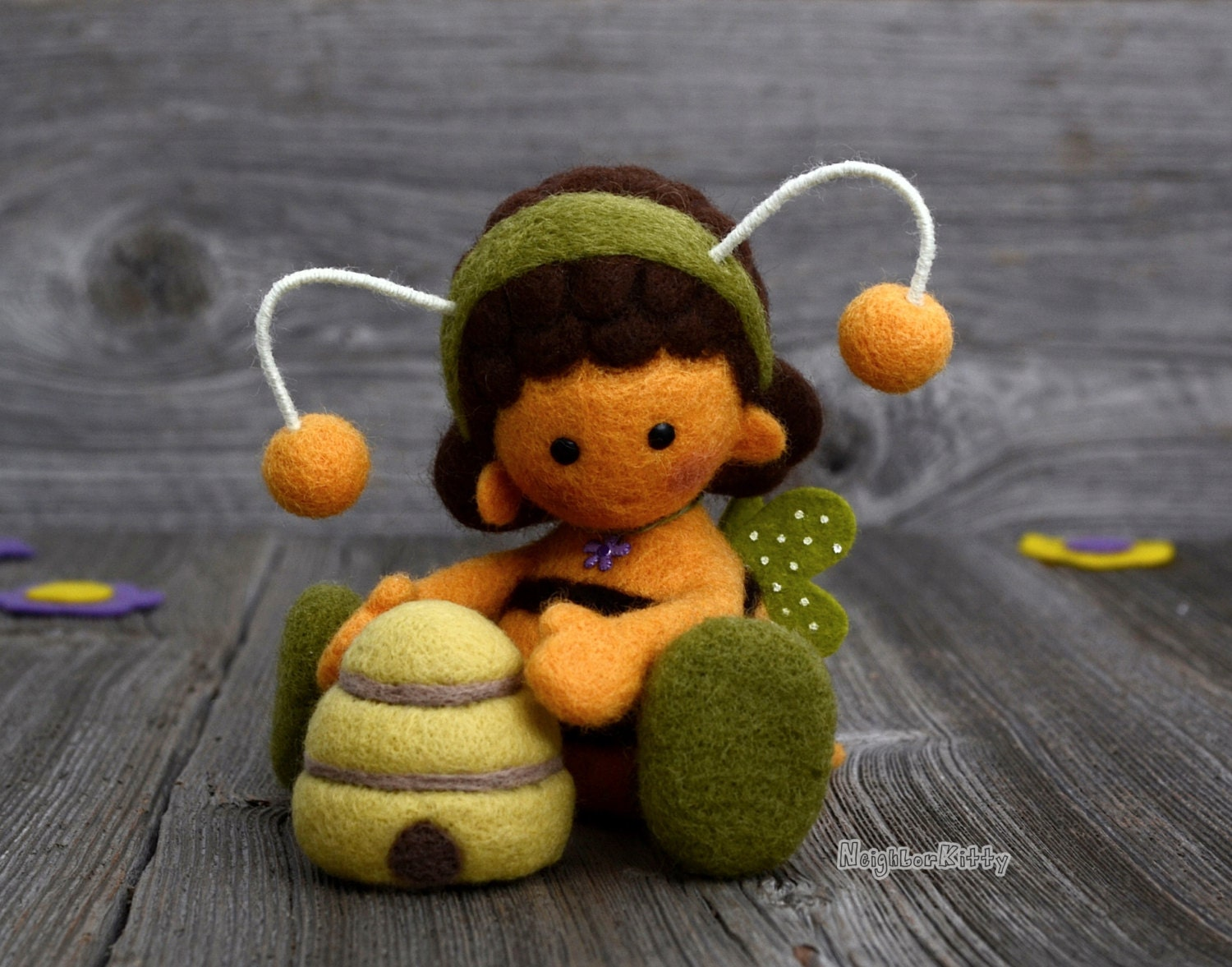 Needle felted bee bee and beehive fiber art home decor for Bee decorations for the home
