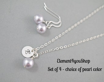Bridesmaid Necklace & Earrings Set of 4 Four Wedding Initial Necklace Bridesmaid gifts Sterling Silver Round Charm Hand Stamped Alphabet