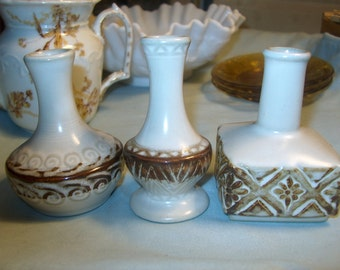 3 Vintage Pottery Vases, Small, WAS 25.00 - 50% = 12.50
