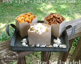 "10 Each • Tiny Kraft Paper Snack Bag • Treat Bag • Paper Snack Sack • 3-3/8"" x 1-7/8"" x 3-1/4"" Grease Resistant • SOS Bag • Movie Night Bag"