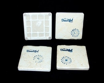 Ceramic Tile Cup Coasters IT'S A Beautiful Day Blue Flower Tile Cups Coasters Set of 4