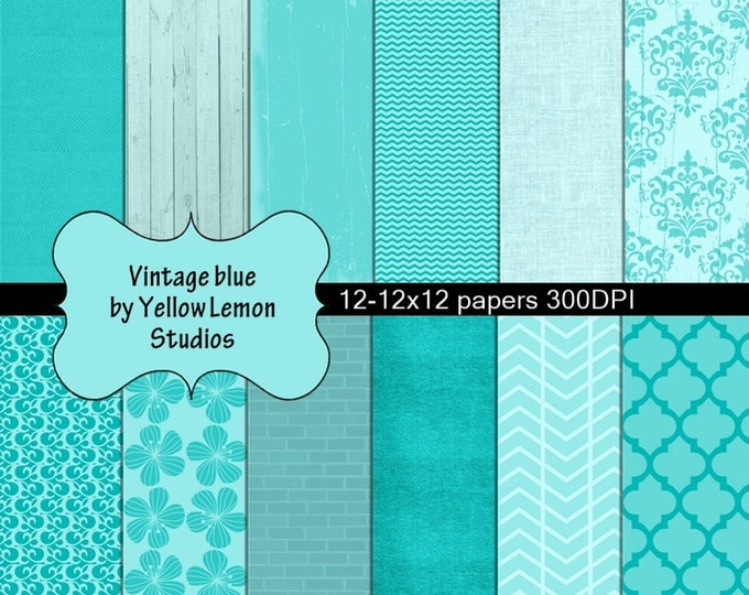 "Vintage blue digital paper: ""TEAL PATTERNS"" Vintage paper, flowers, teal, vintage, brick, teal color, mosaic tile, wood fence, wedding"
