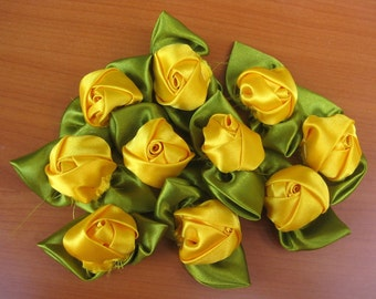 Rose buds/ red flowers/ fabric flowers/ decorative flowers/ yellow roses.10 pieces.