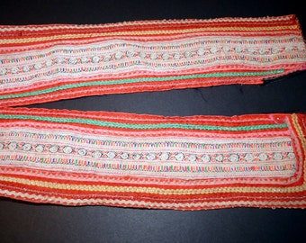 Vintage Used Needlework Embroidered Strip Trim from Hmong Hill tribe Thailand Ethnic Textile  Traditional Handmade