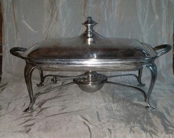 Antique Silver Plated Warming Dish Roberts Belk Sheffiel Serving Dish 5 Piece Edwardian Chafing Dish with Burner circa 1910s