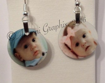 Photo earrings with silver plated fish hook hoops.