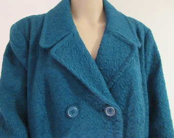 Vintage Turquoise 1960's Coat MADE IN london By 'Reville' - Chest 46""