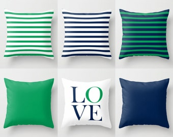 Throw Pillow Covers Accent Pillow Cover Decorative Pillow Covers Home Decor Grass Green Pillow Covers Navy Pillow Cover Green Navy Decor