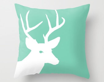 Deer Throw Pillow Cover Green White Decor Deer Decor Deer Pillow Home Decor  Decorative Pillow Cover Couch Cushion Cover Animal Lover Gift