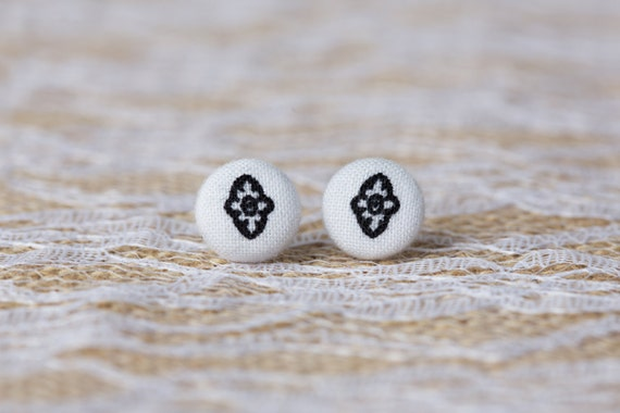 Black and White Button Earrings - Black and White Earrings - Button Earrings - Fabric Button Stud Earrings-Button Jewelry-Button Accessories