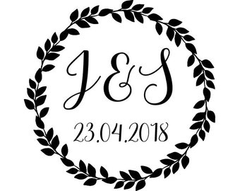 "Custom Wedding Wreath Stamp, personalized stamp, initials & date stamp, card stamp, tags stamp, wedding stationery, 1.8""x1.8"" (cts152)"