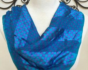 Vintage Adrienne Vittadini Funky Square Turquoise Blue Purple Sheer Silk Scarf