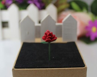 2PCS Little Prince and Rose Mini Velvet Flower ,  Le Petit Prince Felted Fantasy Planet Vintage Red Rose