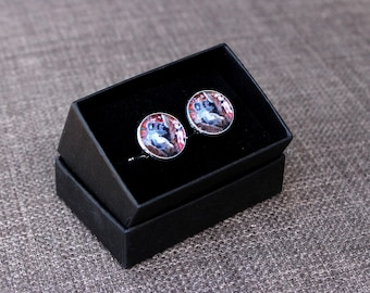 Cufflinks, koala photograph, silver-plated with glass dome