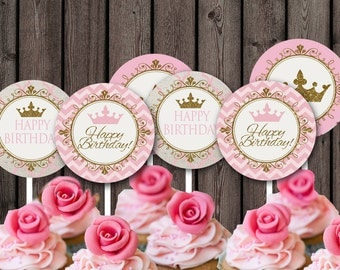 princess cupcake toppers, princess party supplies, pink and gold princess toppers, princess tags, pink gold cupcakes, royal cupcake toppers