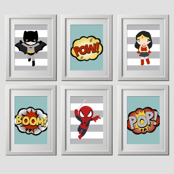 Vintage superhero wall art the image for Retro wall art