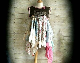 Pink Sunshine Shabby Floral Java ragdoll funky Ruffled pixie ruffled rustic Boho altered Knit tunic tatter top dress