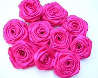 Hot Pink Satin Roses, Fabric Rosettes, 10 Rolled Roses, Do it yourself project, Roses